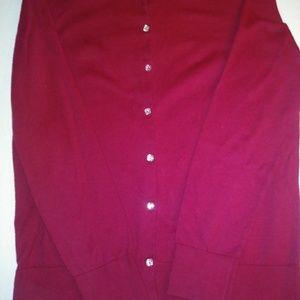 Ann Taylor Loft Burgundy Cardigan Size L